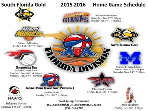 South Florida Gold 20152016 Home Schedule